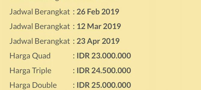 Umroh Promo 9 Hari 2019